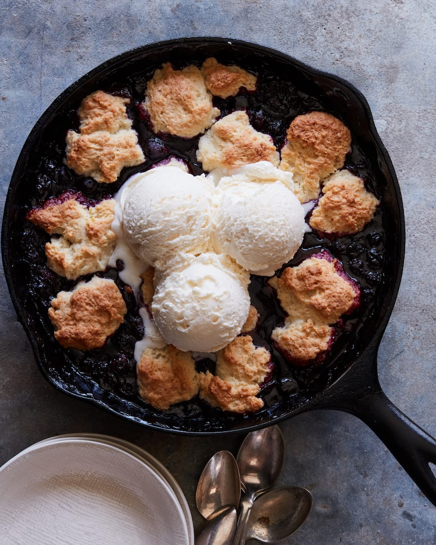 Blueberry Skillet Cobbler with Ice Cream from www.whatsgabycooking.com (@whatsgabycookin)