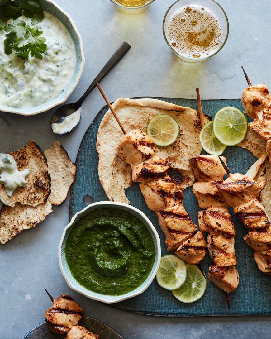 Chicken Skewers with Cilantro Mint Sauce from www.whatsgabycooking.com (@whatsgabycookin)