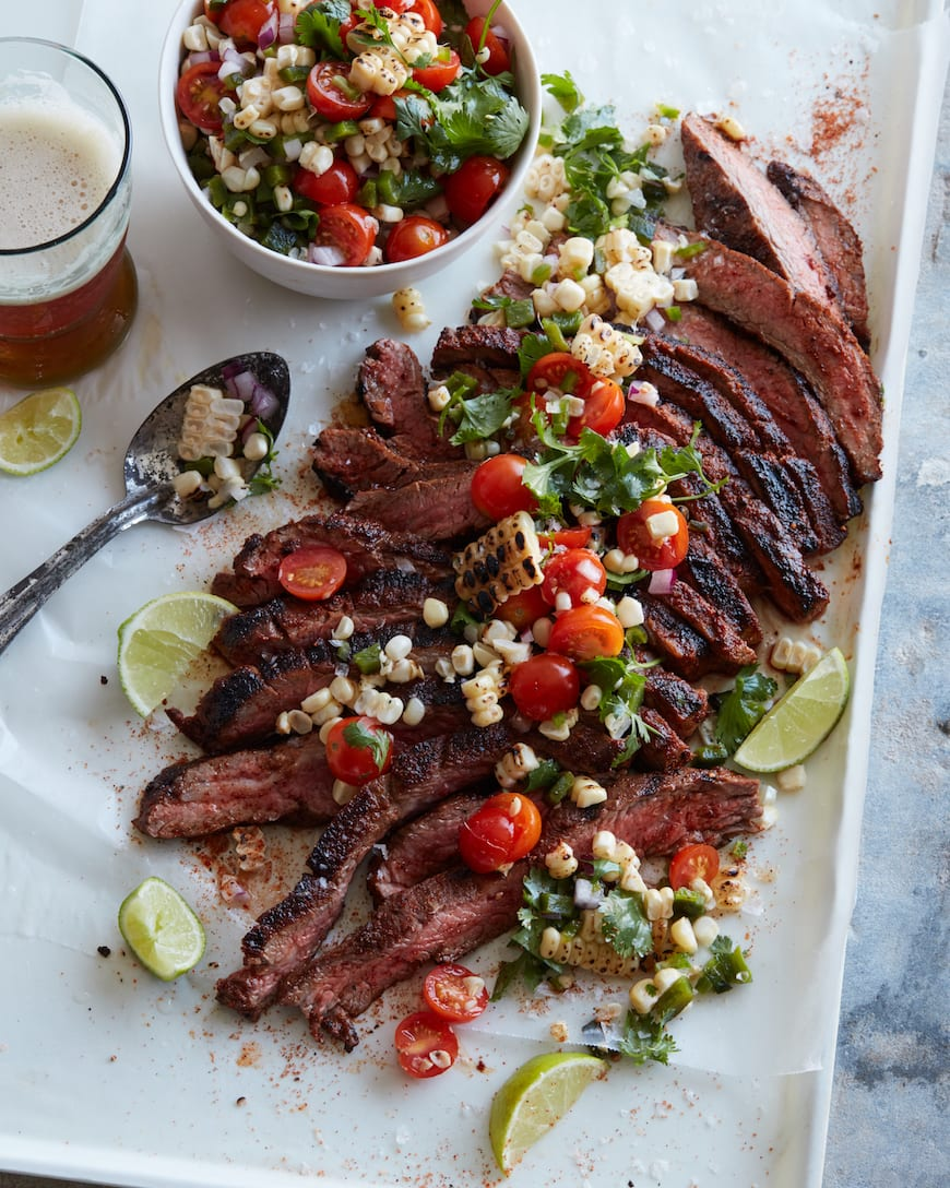 Chipotle Flank Steak with Corn Salsa from www.whatsgabycooking.com (@whatsgabycookin)