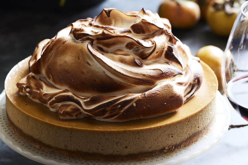 Pumpkin Cheesecake with Marshmallow Meringue from www.whatsgabycooking.com (@whatsgabycookin)