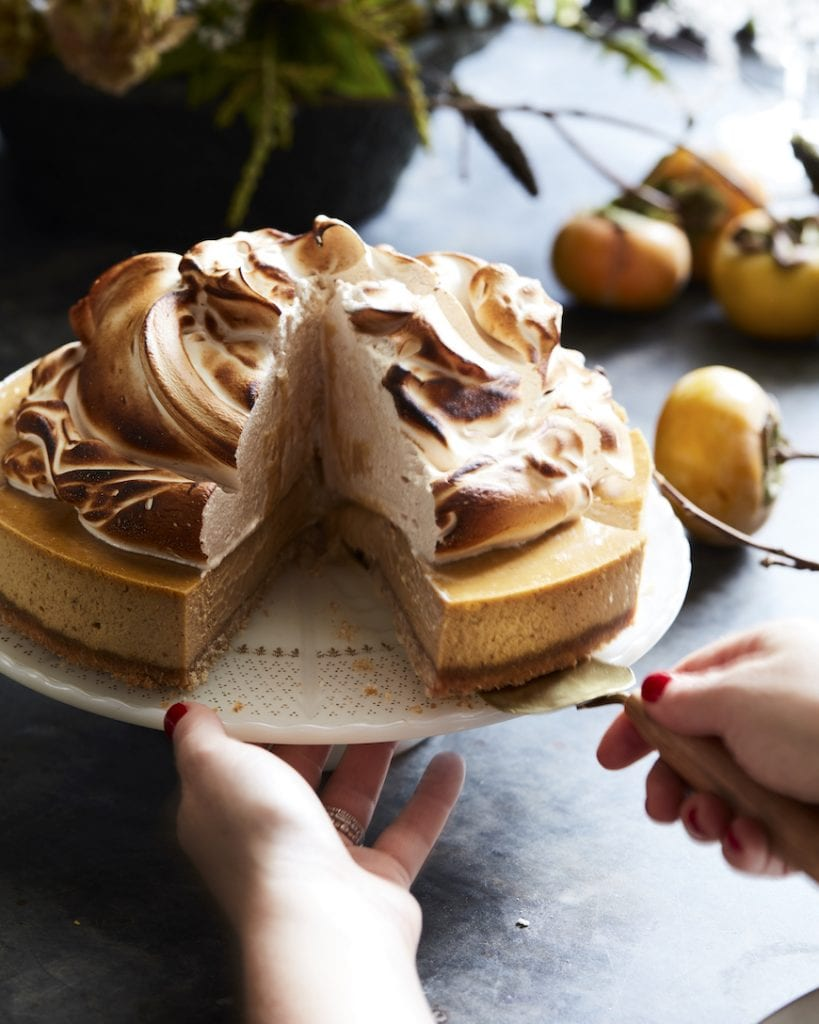 Pumpkin Cheesecake with Marshmallow Meringue from www.whatsgabycooking.com (@whatsgabycookin)