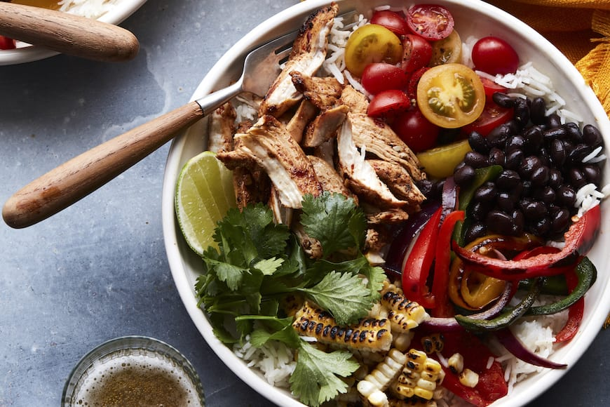 Chicken Fajita Bowls with Guacamole from www.whatsgabycooking.com (@whatsgabycookin)