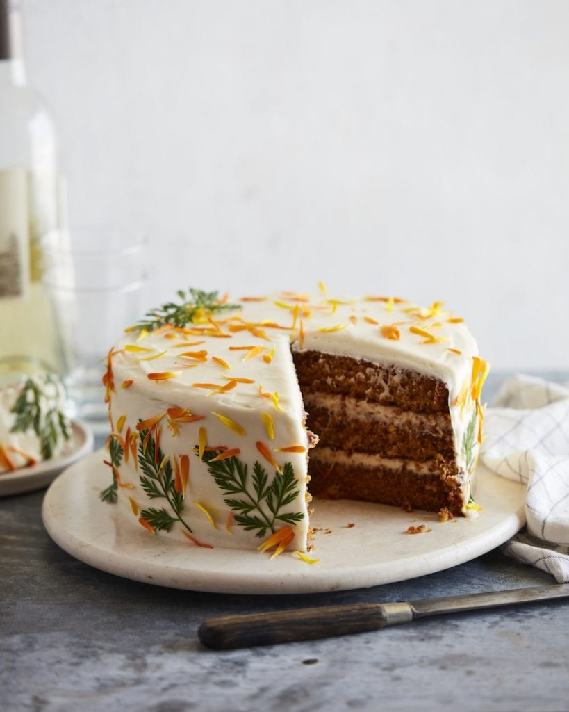 Layered Carrot Cake from the Easter Dinner Menu on www.whatsgabycooking.com (@whatsgabycookin)