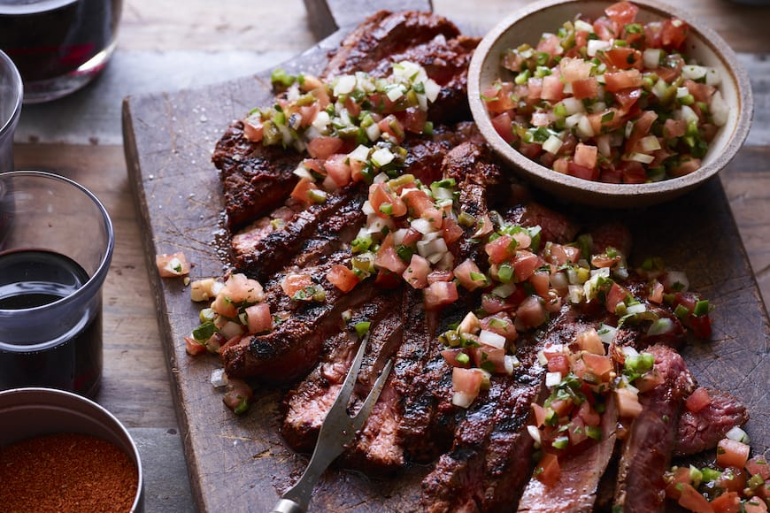 Grilled Flank Steak with Poblano Pico from www.whatsgabycooking.com (@whatsgabycookin)