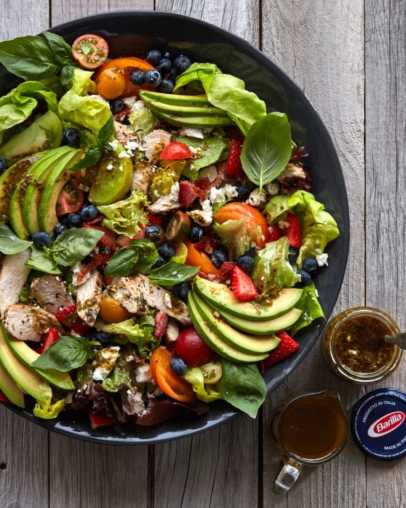Pesto Farmers Market Salad with Grilled Chicken from www.whatsgabycooking.com (@whatsgabycookin)