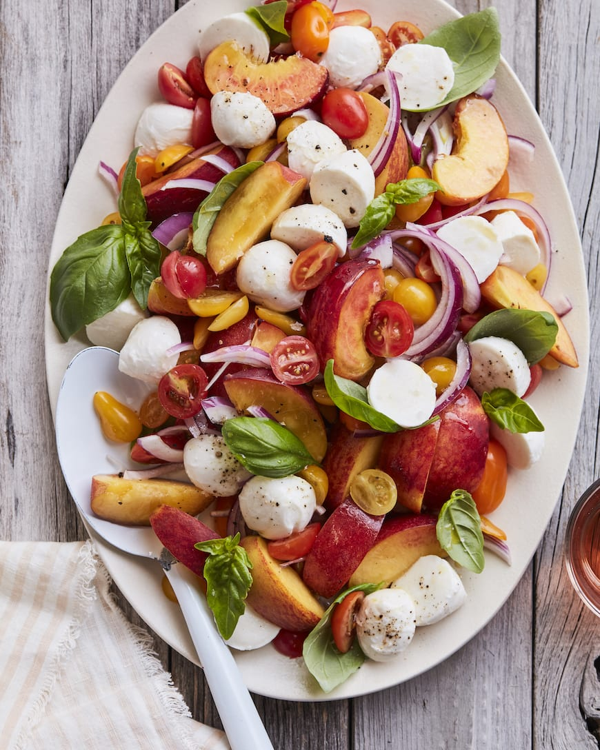 Peach Tomato Caprese from www.whatsgabycooking.com (@whatsgabycookin)