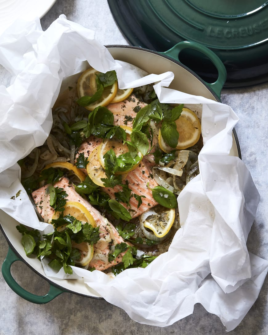Steamed Salmon with Garlic, Herbs and Lemon from www.whatsgabycooking.com (@whatsgabycookin)