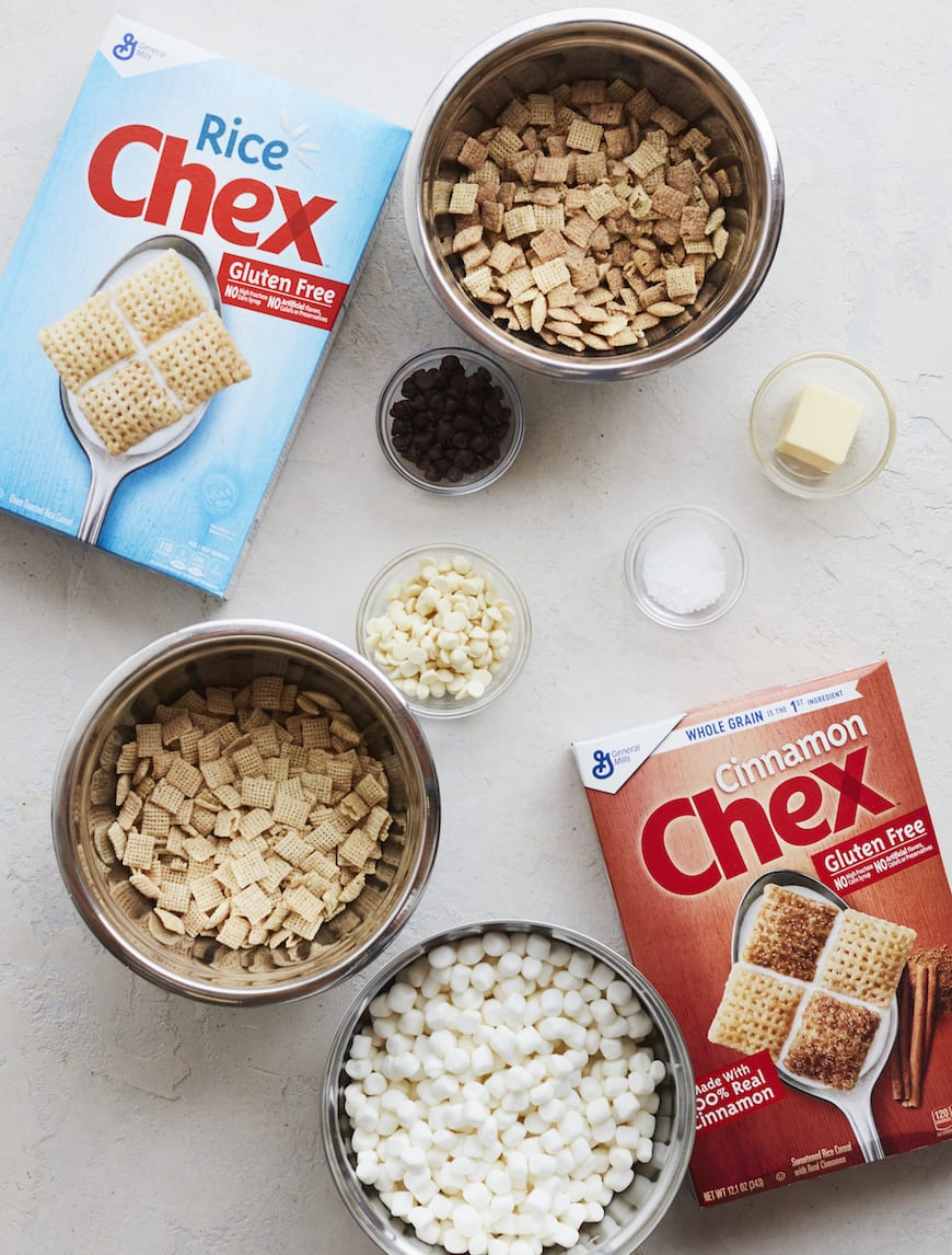 White Chocolate Marshmallow S'more Chex Bars from www.whatsgabycooking.com (@whatsgabycookin)