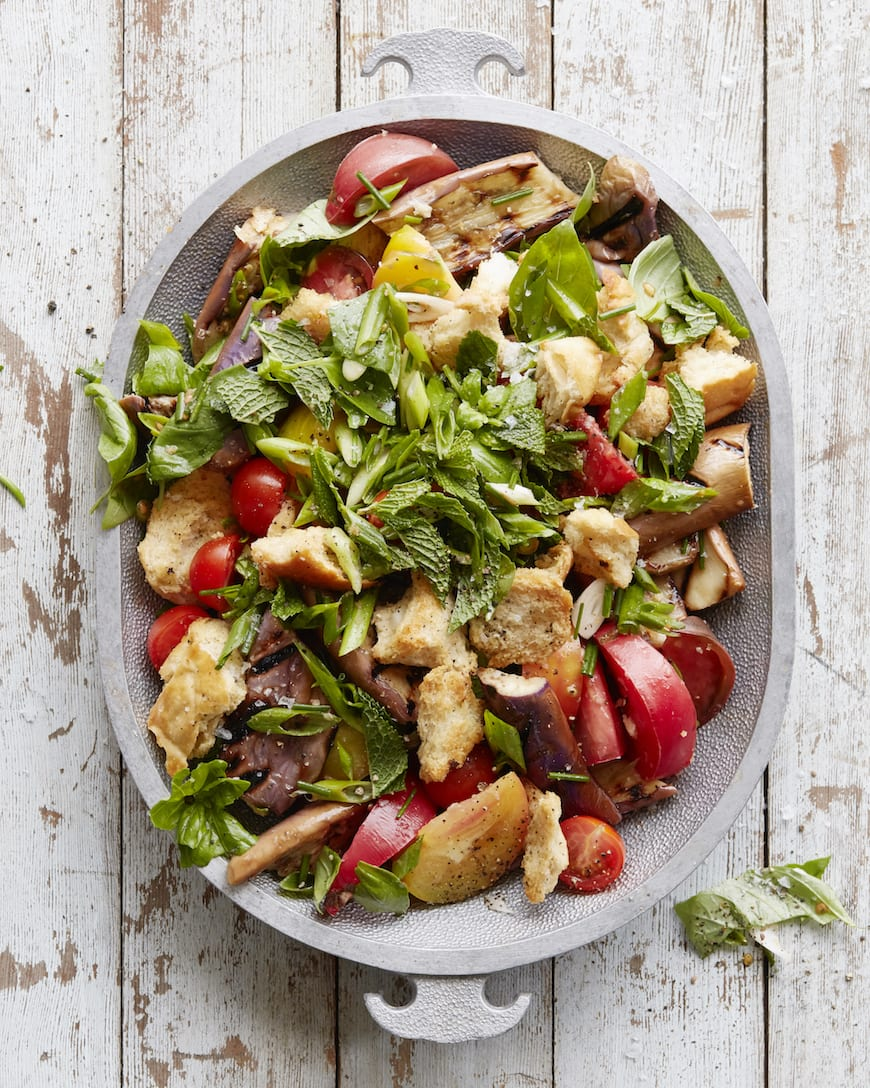 Grilled Eggplant Panzanella from www.whatsgabycooking.com (@whatsgabycookin)