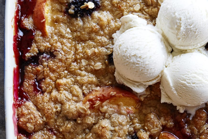 Peach and Blackberry Crisp from www.whatsgabycooking.com (@whatsgabycookin)