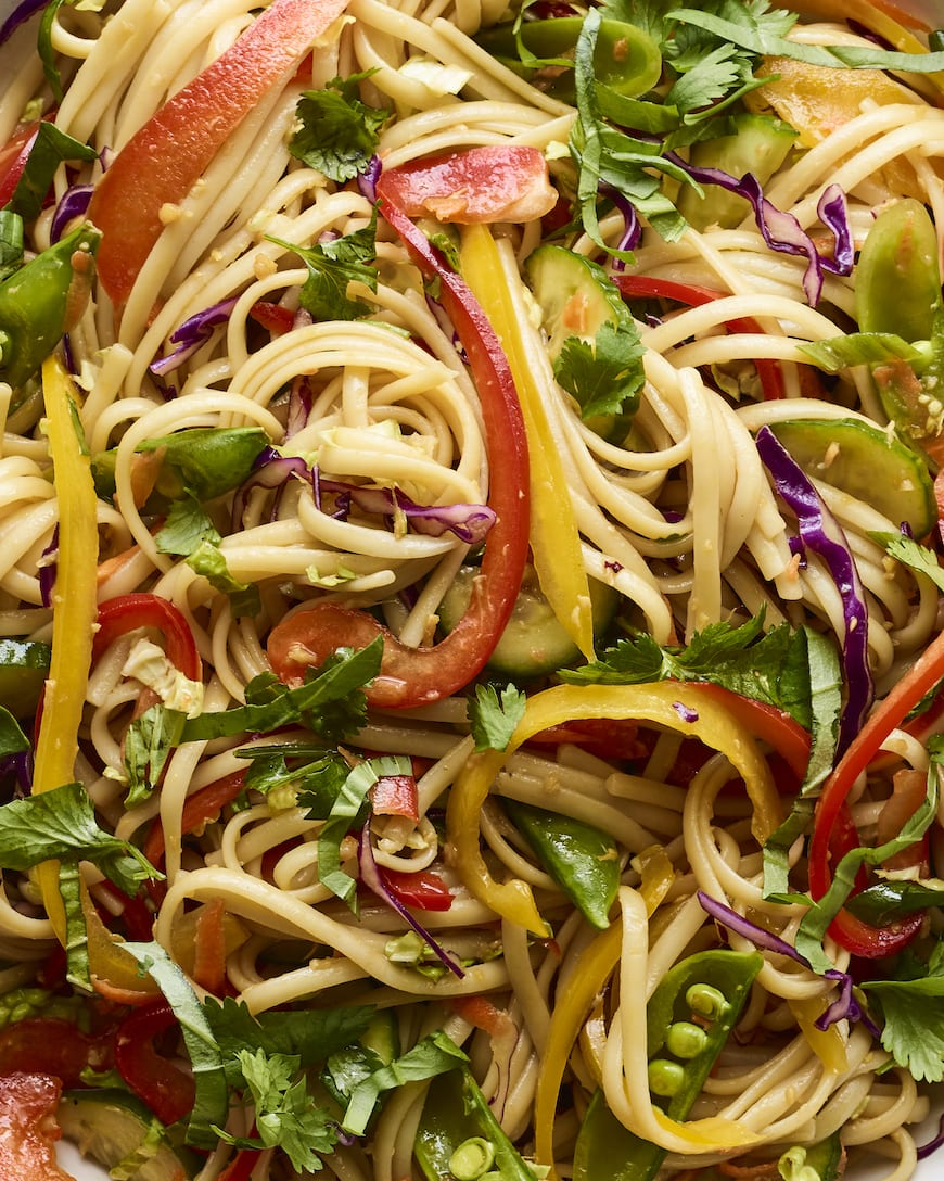 Sesame Noodle Pasta Salad from www.whatsgabycooking.com (@whatsgabycookin)