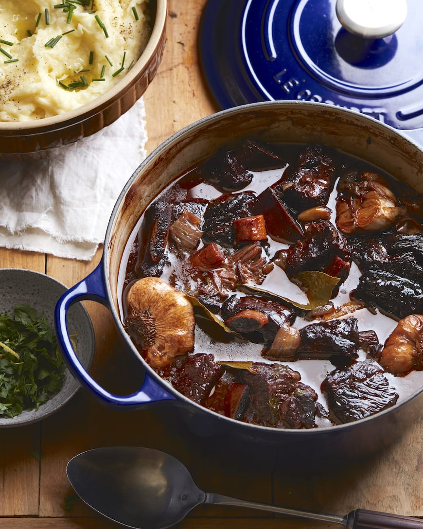 Garlic Red Wine Braised Short Ribs with Creme Fraiche Mash from www.whatsgabycooking.com (@whatsgabycookin)