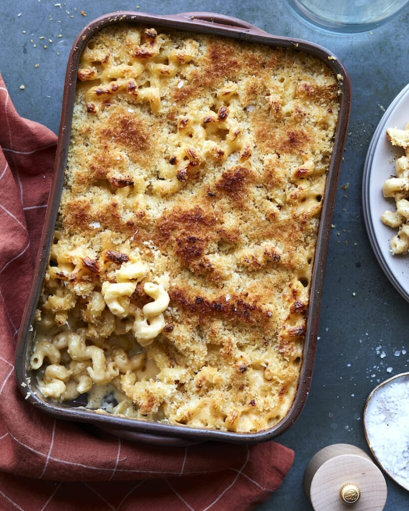 Creamy Baked Mac and Cheese from the Easter Dinner Menu on www.whatsgabycooking.com (@whatsgabycookin)