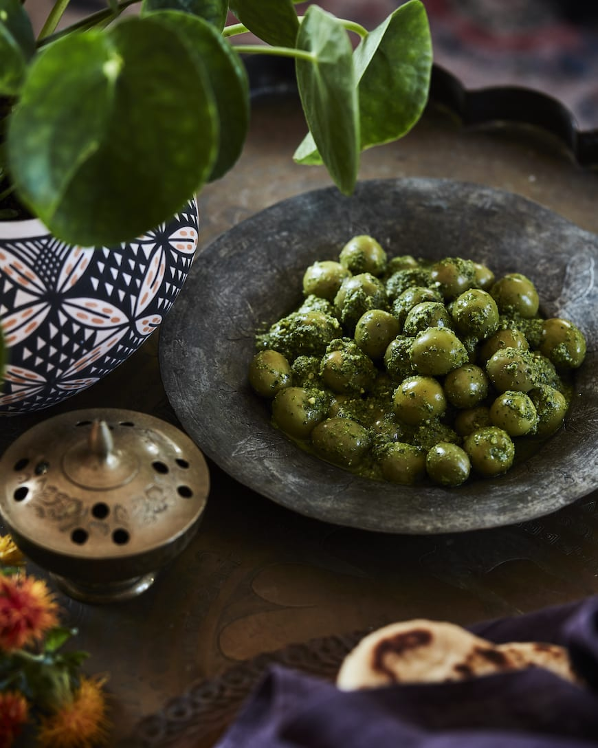 Moroccan Dinner Party Menu // Green Harissa Olives from www.whatsgabycooking.com (@whatsgabycookin)