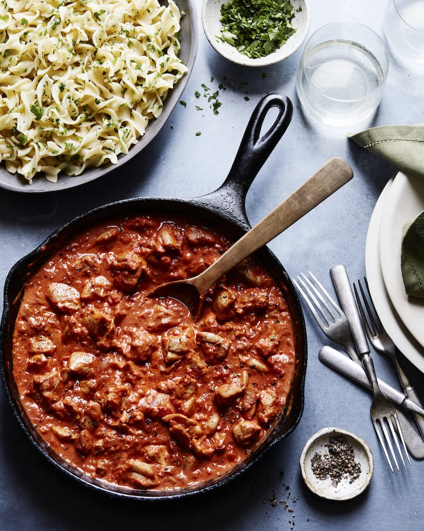 Chicken Paprikash with Buttered Noodles from www.whatsgabycooking.com (@whatsgabycookin)