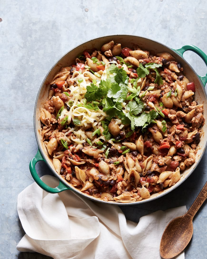 Cheesy Chicken Taco Chili Pasta from www.whatsgabycooking.com (@whatsgabycookin)