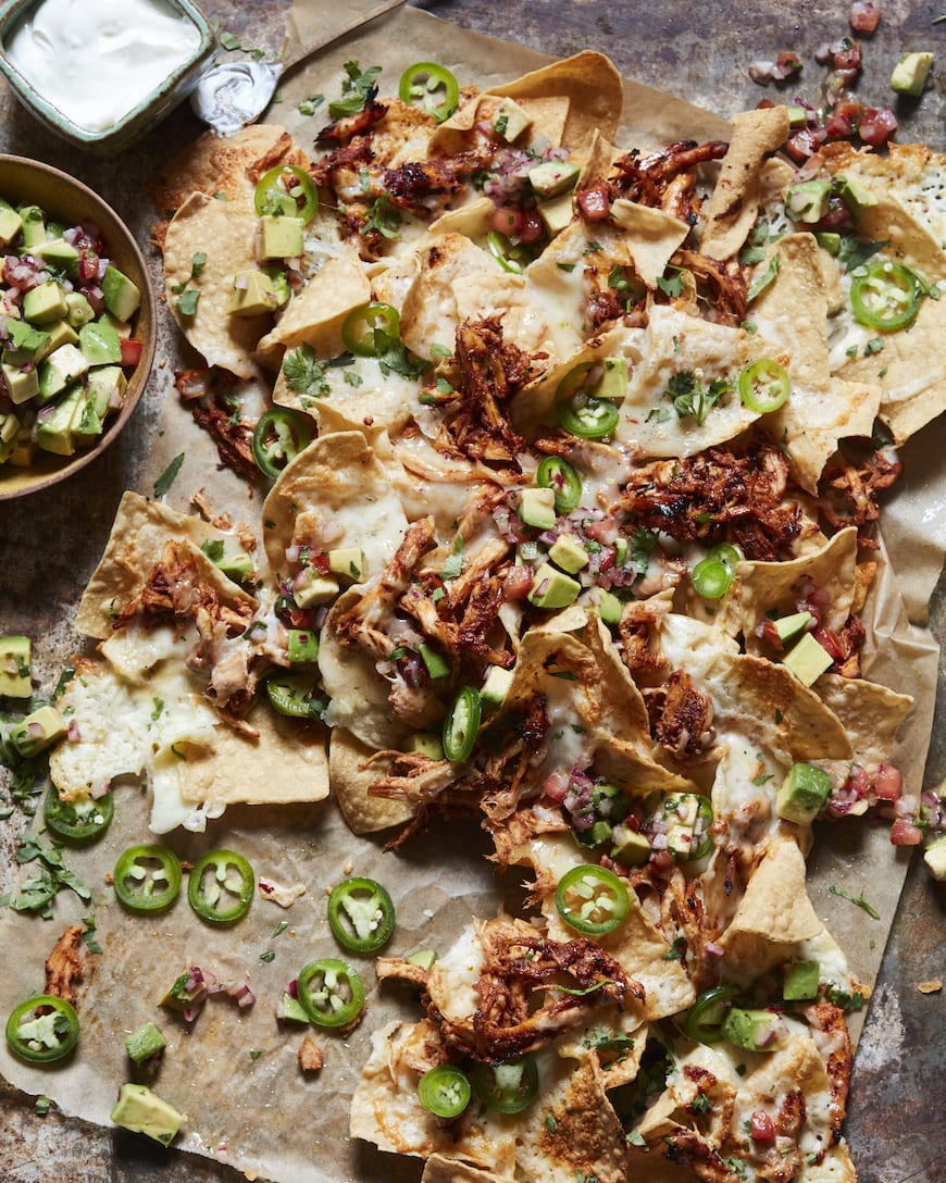 Chrissy's Chicken Nachos with Avocado Salsa from www.whatsgabycooking.com (@whatsgabycookin)