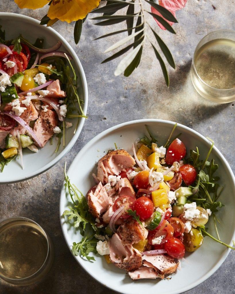 Greek Salad with Salmon from www.whatsgabycooking.com (@whatsgabycookin)