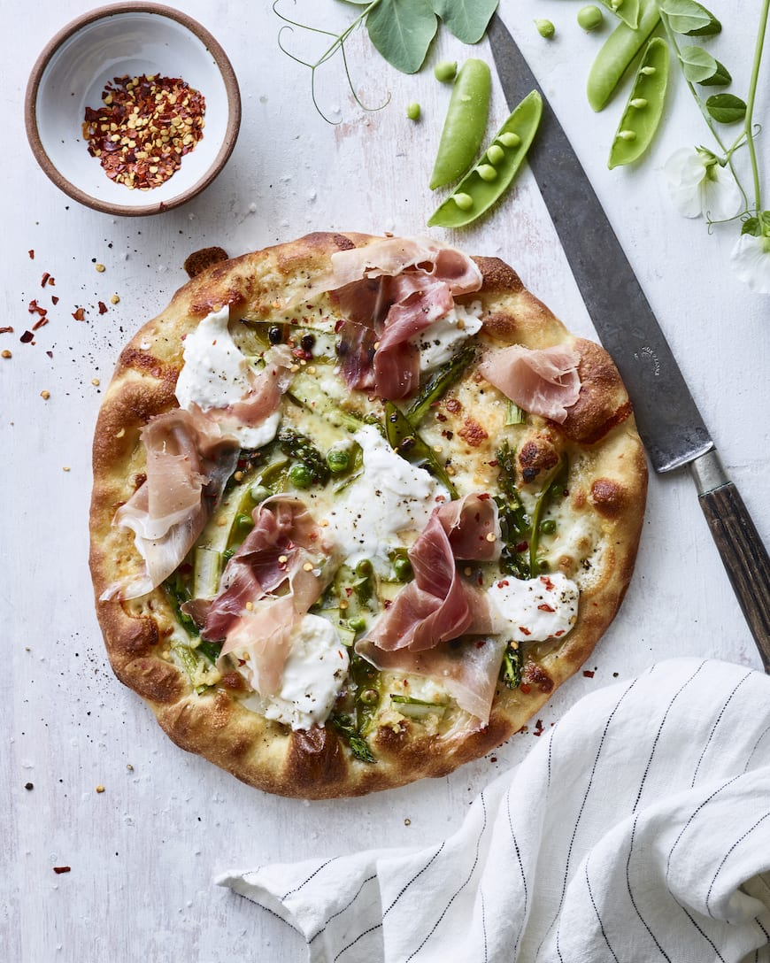 Burrata Snap Pea and Asparagus Pizza from www.whatsgabycooking.com (@whatsgabycookin)