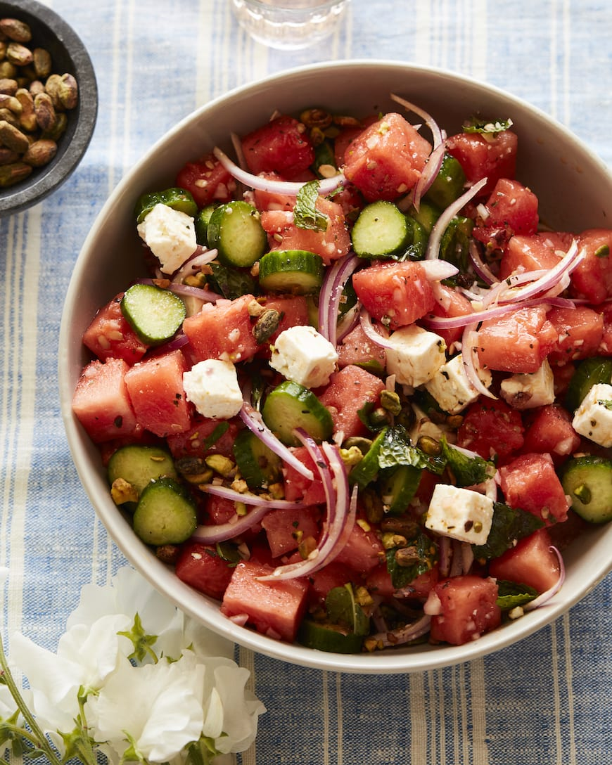 Watermelon Cucumber Salad from www.whatsgabycooking.com (@whatsgabycookin)