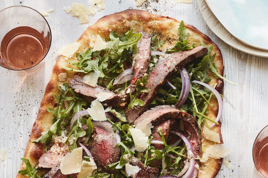 Parmesan Pecorino Steak Flatbread from www.whatsgabycooking.com (@whatsgabycookin)