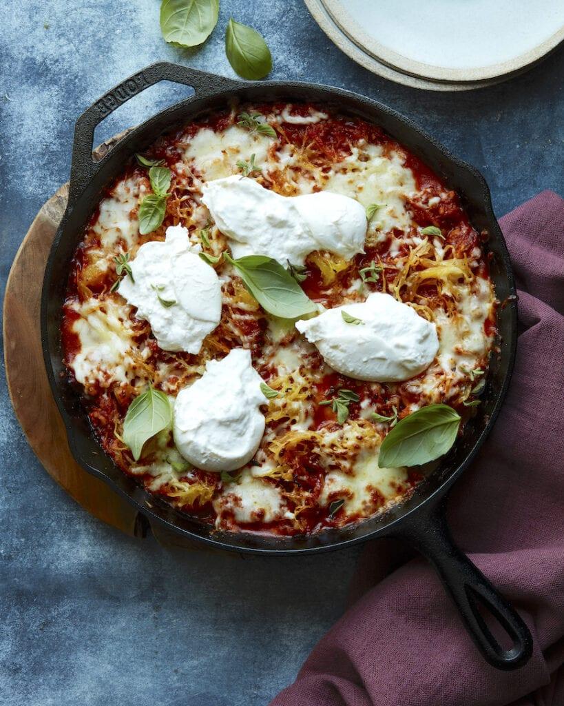 Spaghetti Squash Chicken Parmesan Bake from www.whatsgabycooking.com (@whatsgabycookin)