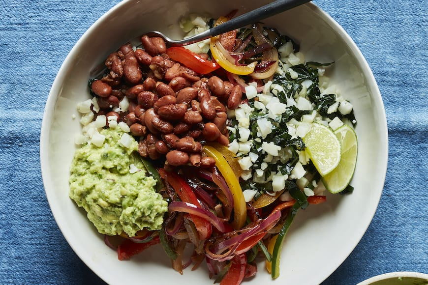 Rajas Veggie Fajita Bowl from www.whatsgabycooking.com (@whatsgabycookin)