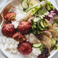 Korean Meatball Rice Bowls from www.whatsgabycooking.com (@whatsgabycookin)