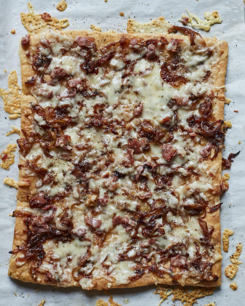 Caramelized Onions and Gruyere Flatbread from www.whatsgabycooking.com (@whatsgabycookin)