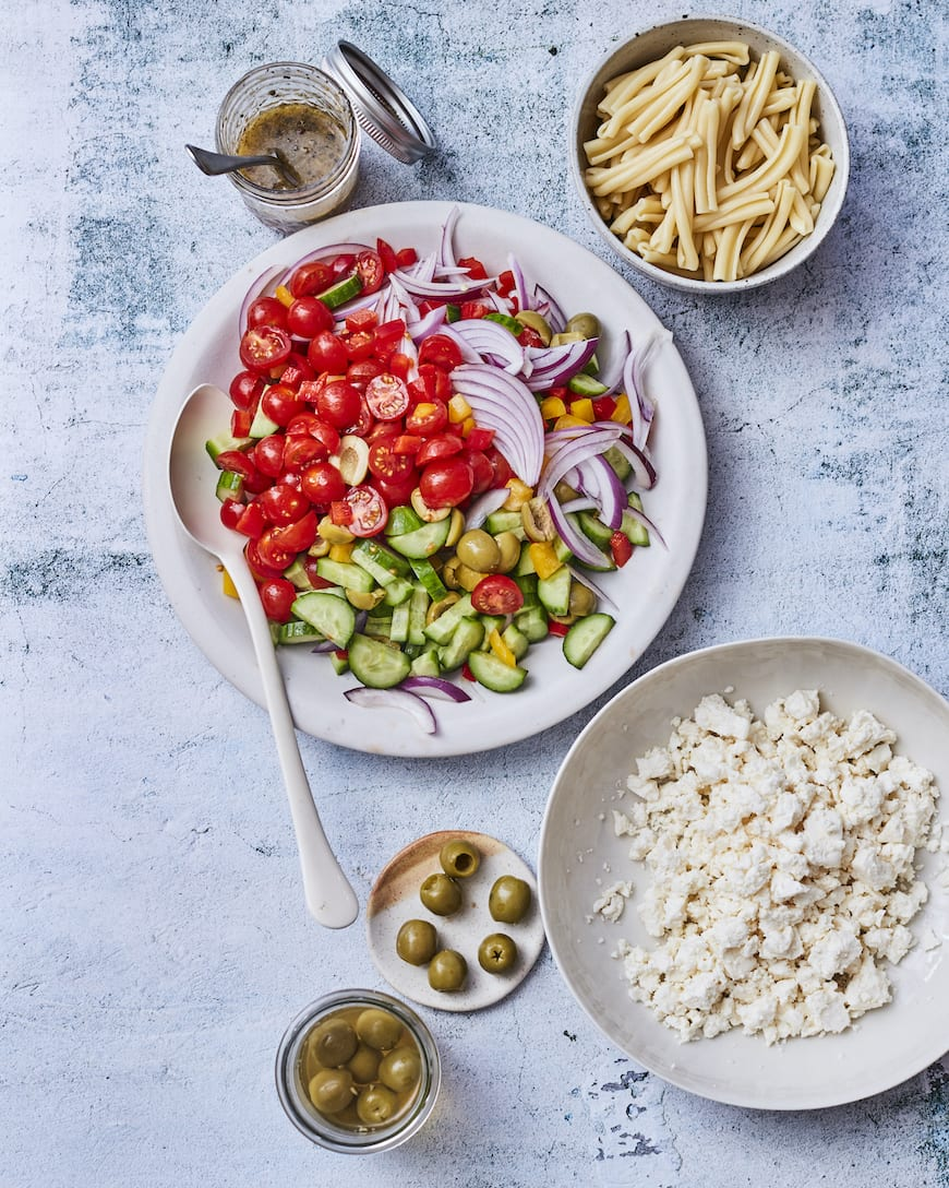Castelvetrano Greek Pasta Salad from www.whatsgabycooking.com (@whatsgabycookin)