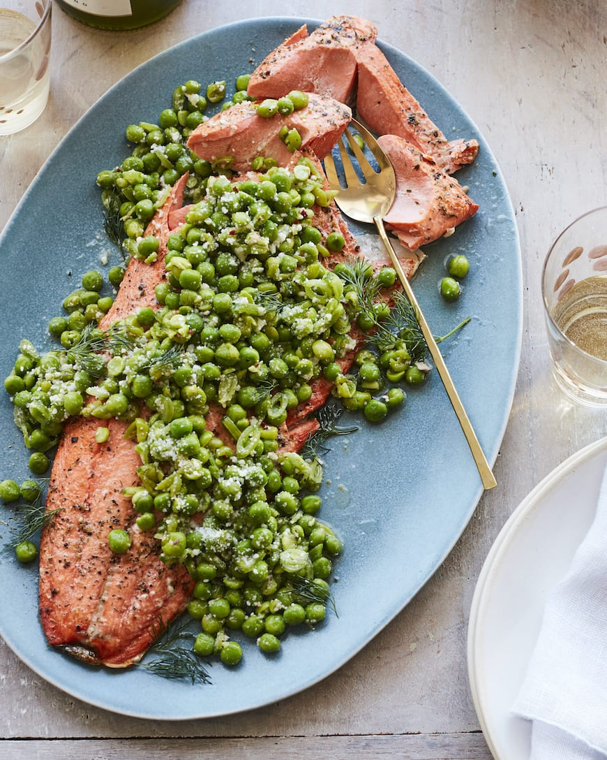 Broiled Salmon with Spring Peas from www.whatsgabycooking.com (@whatsgabycookin)