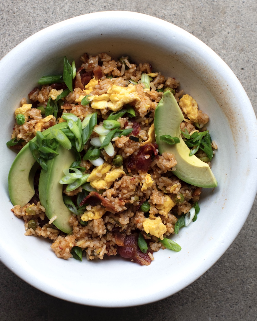 Spicy Bacon Fried Rice from www.whatsgabycooking.com (@whatsgabycookin)