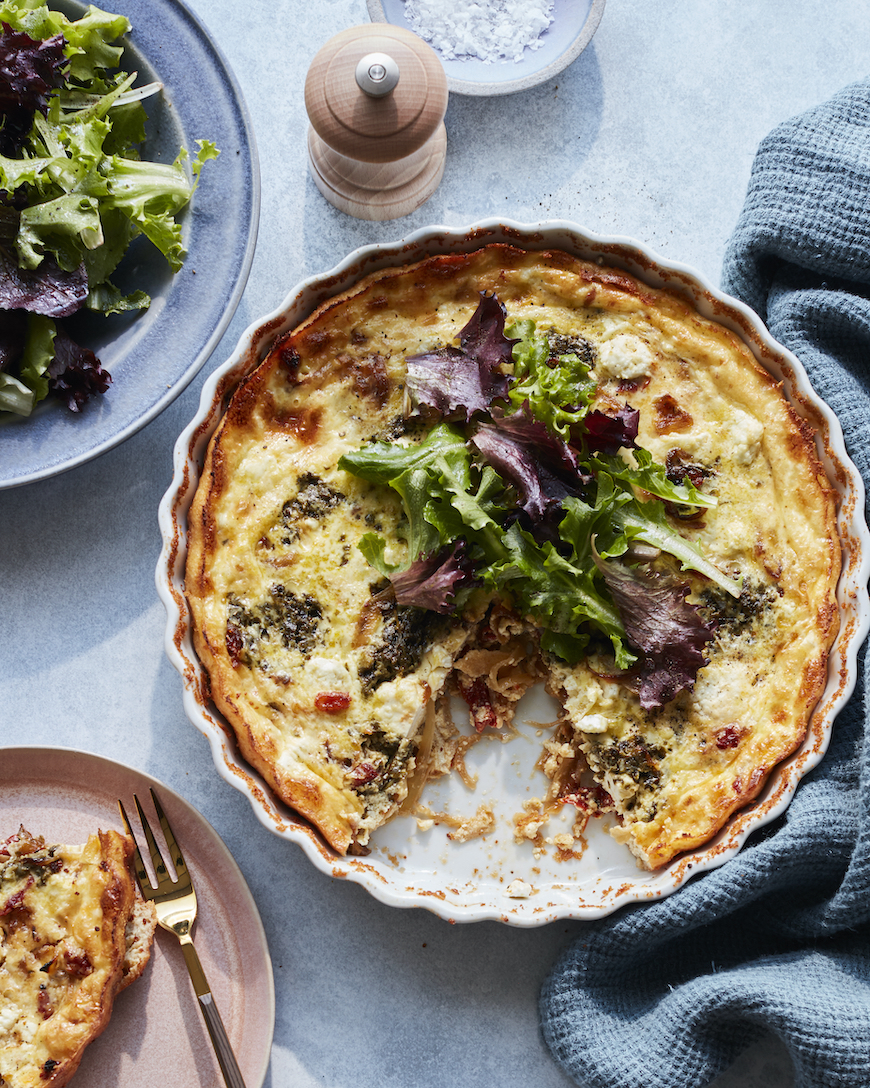 Sun Dried Tomato Goat Cheese Quiche from www.whatsgabycooking.com (@whatsgabycookin)