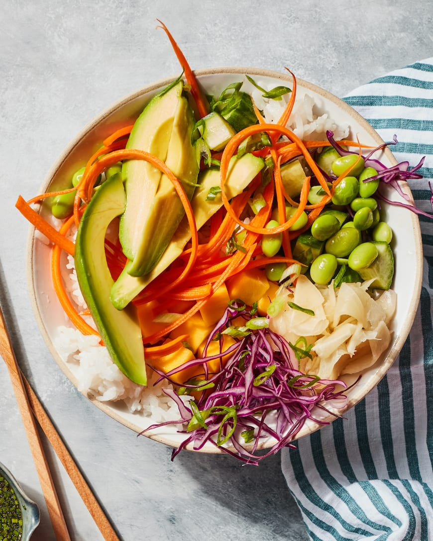 Vegetarian Avocado Sushi Bowls from www.whatsgabycooking.com (@whatsgabycookin)