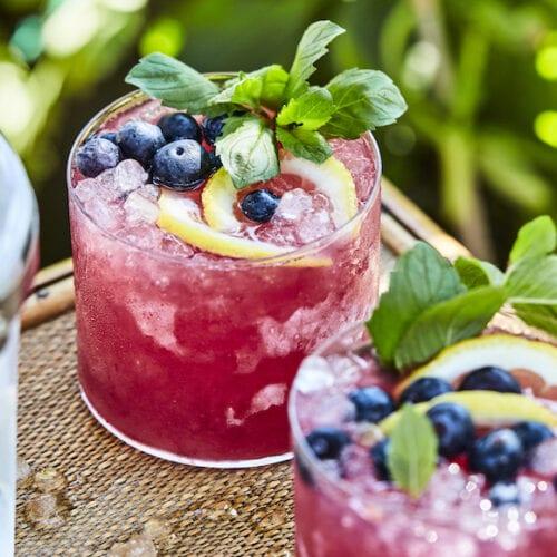 Blueberry Mint Bourbon Lemonade