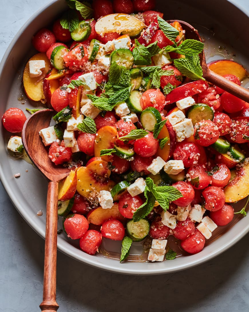 Watermelon Peach Salad from www.whatsgabycooking.com (@whatsgabycookin)