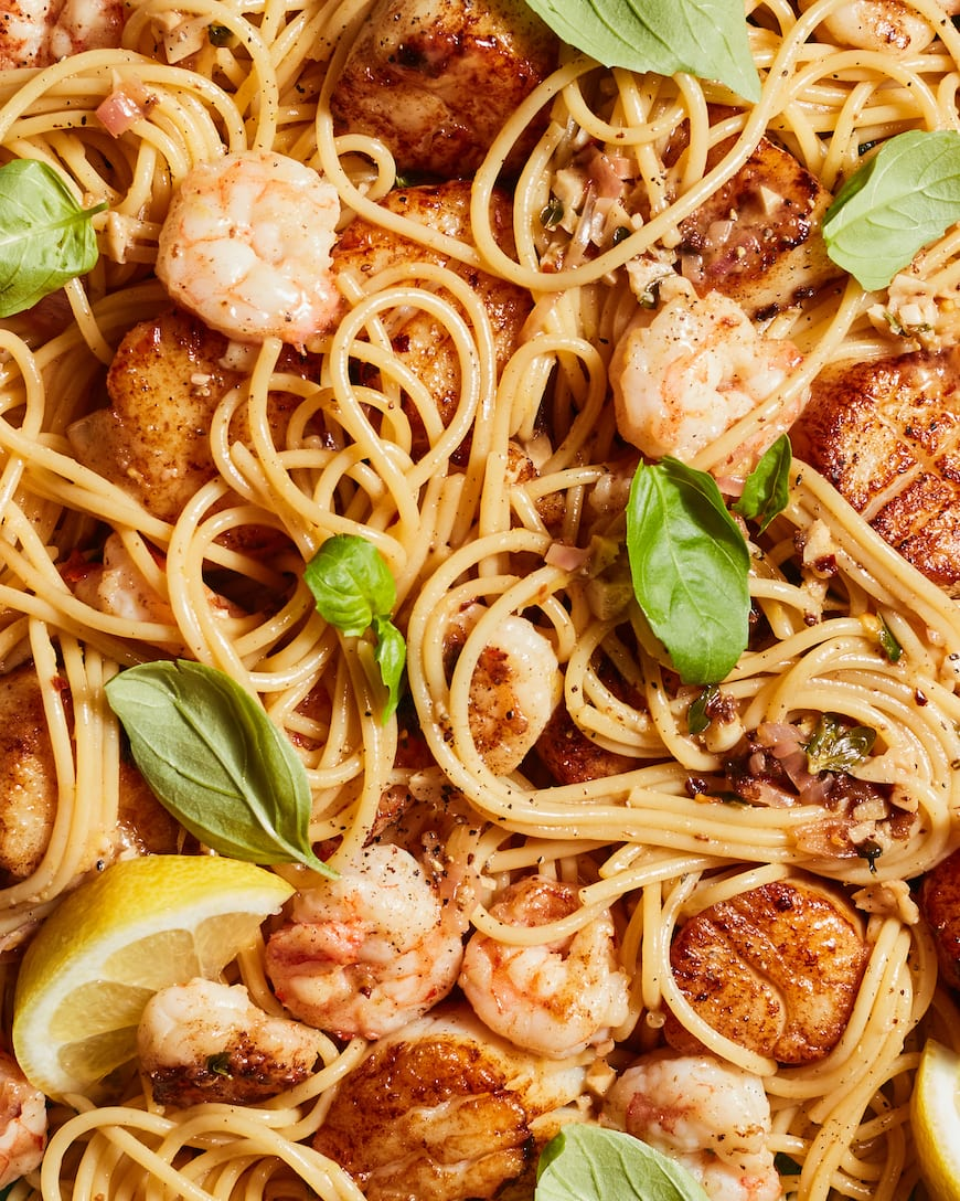 Summer Seafood Pasta with White Wine Sauce from www.whatsgabycooking.com (@whatsgabycookin)