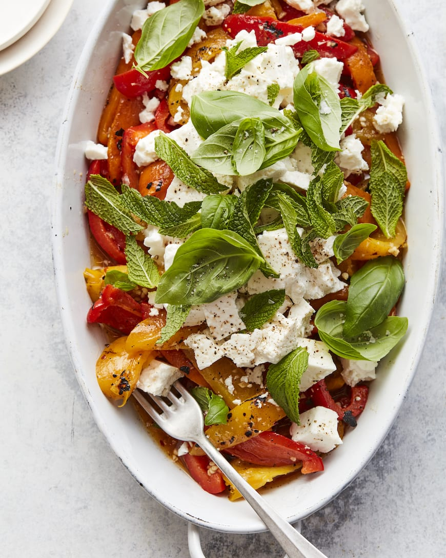 Charred Pepper Salad with Feta from www.whatsgabycooking.com (@whatsgabycookin)