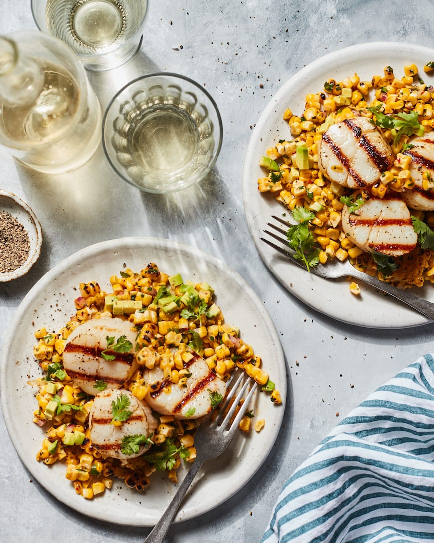 Grilled Scallops with Avocado Corn Salad from www.whatsgabycooking.com (@Whatsgabycookin)