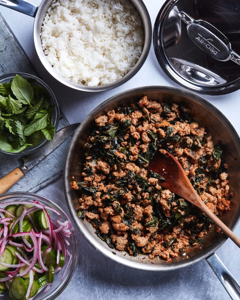 Chicken Larb with Coconut Rice from www.whatsgabycooking.com (@whatsgabycookin)