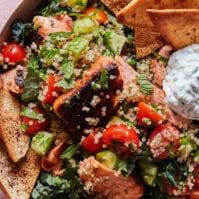 Salmon Shawarma Salad from www.whatsgabycooking.com (@whatsgabycookin)