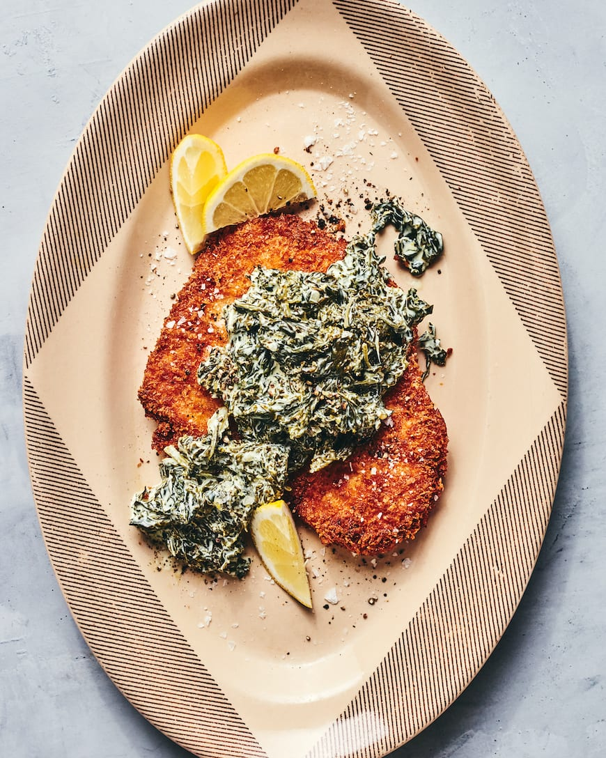 Chicken Schnitzel with Creamy Kale from www.whatsgabycooking.com (@whatsgabycookin)