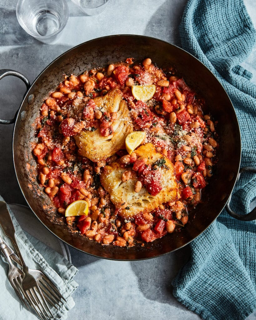 White Fish with Tomato Basil Beans from www.whatsgabycooking.com (@whatsgabycookin)
