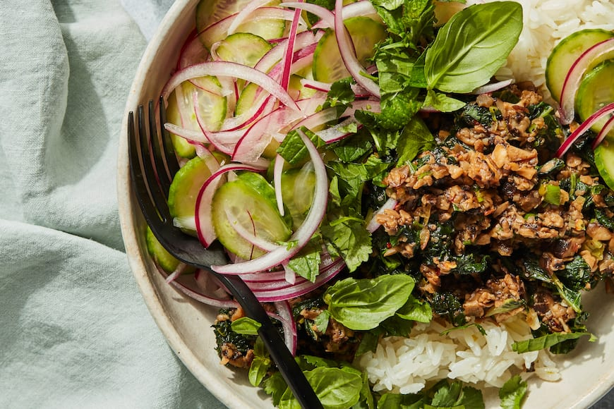 Vegetarian Mushroom Kale Larb Bowls from www.whatsgabycooking.com (@whatsgabycookin)