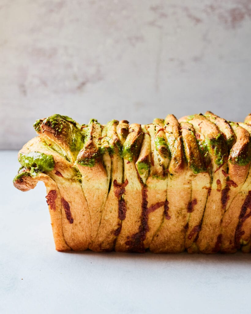 Cheesy Pesto Pull Apart Bread from www.whatsgabycooking.com (@Whatsgabycookin)