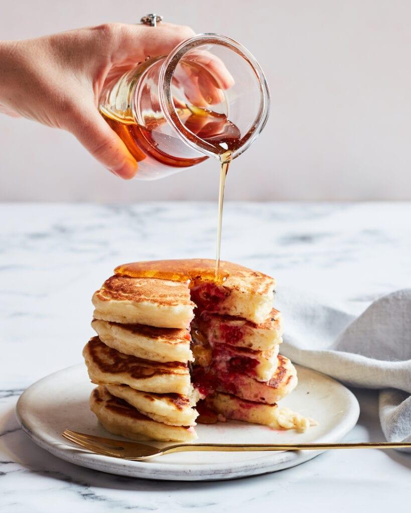 Fluffy Raspberry Chocolate Pancakes from www.whatsgabycooking.com (@whatsgabycookin)
