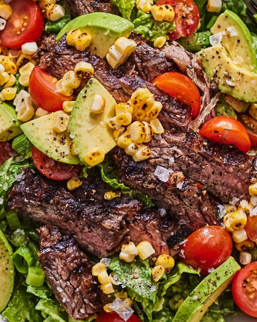 Loaded Steak Salad Bowl with Yogurt Green Goddess from www.whatsgabycooking.com (@whatsgabycookin)