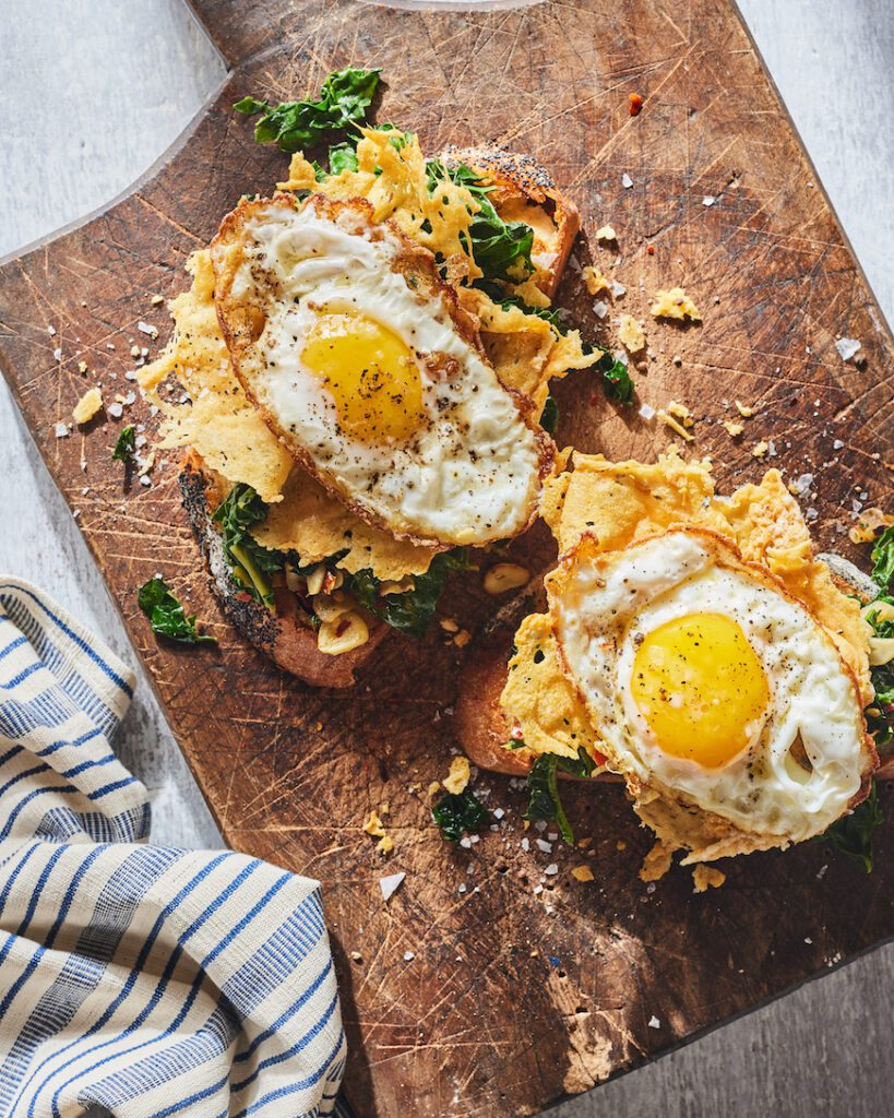 Parmesan Frico Eggs with Greens from www.whatsgabycooking.com (@whatsgabycookin)