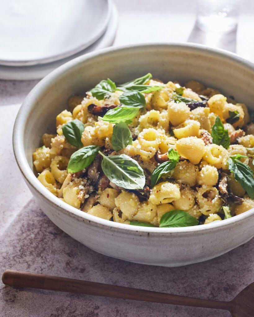 Corn Basil Pasta with Mushrooms from www.whatsgabycooking.com (@whatsgabycookin)