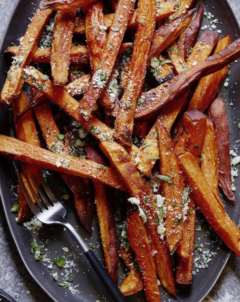 Garlic herb sweet potato fries